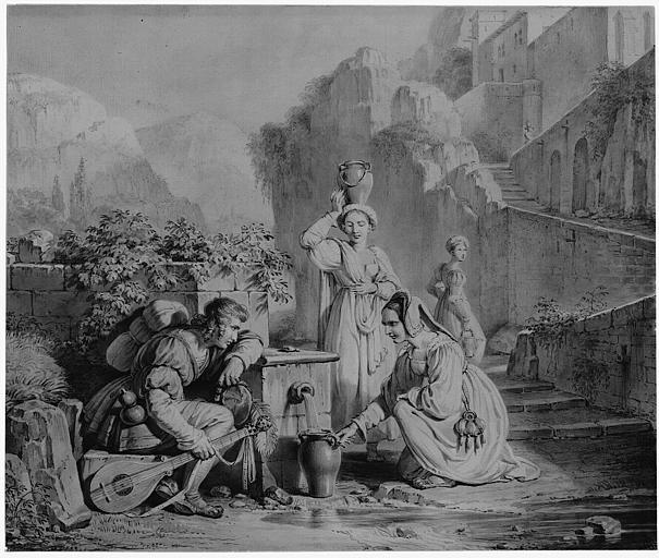 Dessin au crayon et lavis gris : Etude pour le Ménestrel et les Jouvencelles (tableau du salon de 1827 ?)