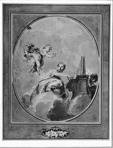Dessin au lavis et à l'aquarelle : Sainte Cécile jouant de l'orgue (forme ovale)