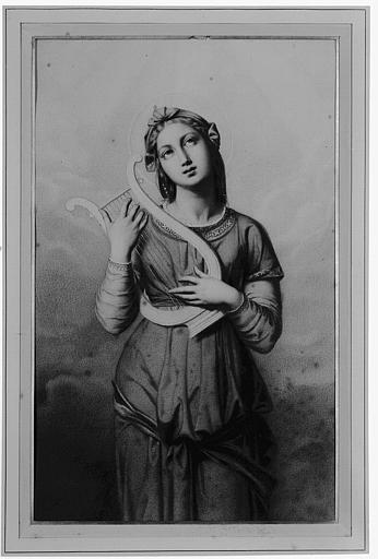 Dessin au crayon noir : Sainte Cécile jouant de la lyre