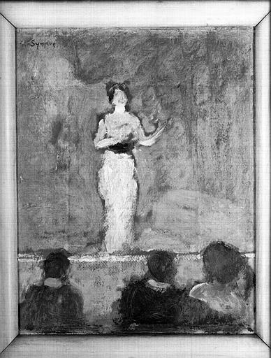 Peinture à l'huile sur carton : La cantatrice