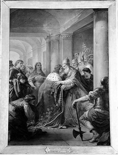 Peinture sur toile de la chapelle : Entrevue de Saint Louis et du Pape Innocent IV à Lyon