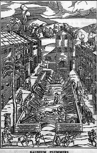 Fac-similé d'une gravure sur bois de 1553 : Balneum Plummers