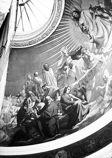 Peinture murale de l'abside de la chapelle (partie gauche) : Ames portées aux pieds du Christ par des anges