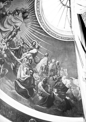 Peinture murale de l'abside de la chapelle (partie droite) : Ames portées aux pieds du Christ par des anges