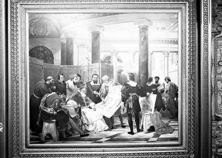 Galerie Charles X, plafond peint de la 2e salle : Jules II ordonnant les travaux du Vatican et de Saint-Pierre à Bramante, Michel-Ange et Raphaël