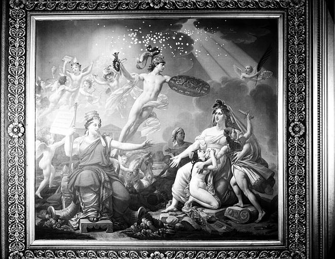 Galerie Charles X, plafond peint de la 1e salle : Le Génie de la France anime les Arts, secoure l'humanité