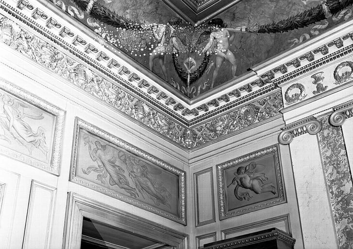 Galerie Charles X, voussure de la 1e salle à l'angle sud-ouest (grisailles)