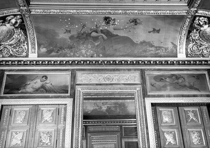 Salle des Bijoux antiques, côté ouest : L'Automne (voussure), la Terre et l'Air (dessus de porte)