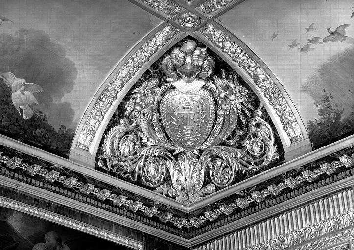 Salle des Bijoux antiques, voussure à l'angle sud-est (bas-relief) : Cartouche au chiffre de François 1er