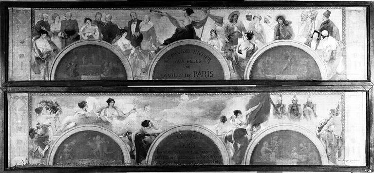 Deux peintures sur toile : Le monde entier aux fêtes de la Ville de Paris (1) et la Ville de Paris entourée de la Paix, de l'Abondance,... (2)