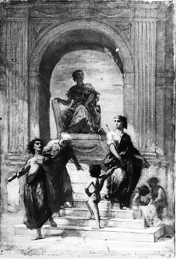 Peinture sur toile : Allégorie de la Loi (esquisse pour la toile de Laval)