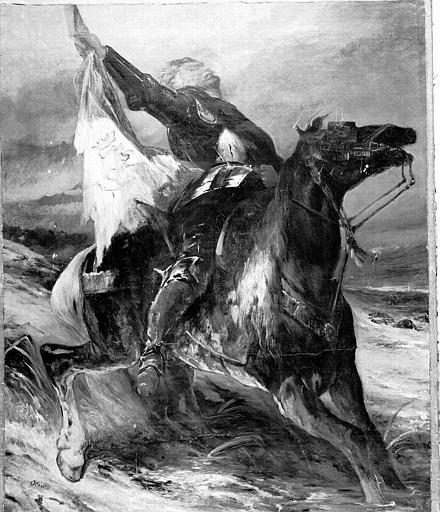 Peinture sur toile et esquisse : Un dragon de la garde impériale