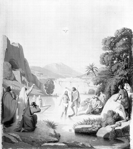 Peinture sur toile : Le Baptême du Christ (esquisse pour le décor des fonts baptismaux de Saint-Paul-Saint Louis à Paris)