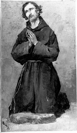 Peinture sur toile : Moine en prières