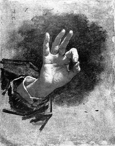 Peinture sur toile : Etude de main pour le tableau de l'Avocat (d'après Maître de Bénazé)