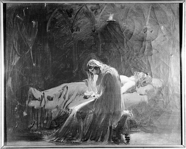 Peinture sur toile : Briséis pleurant Achille mort (esquisse)