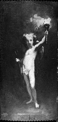 Peinture sur toile : Amour tenant une torche