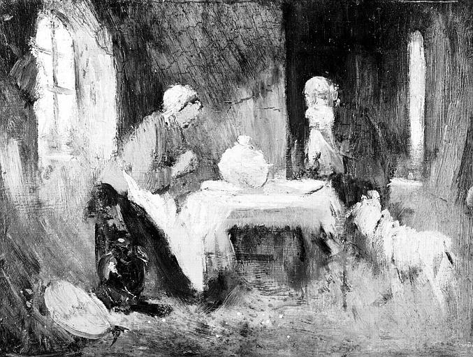Peinture sur toile : Scène d'intérieur