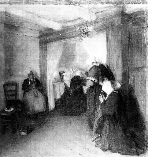 Peinture sur toile : Femmes au chevet d'une mourante
