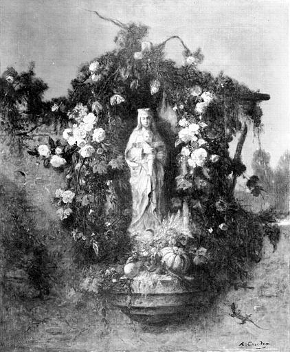 Peinture sur toile : Statuette de Vierge à l'Enfant dans un encadrement de fleurs et de fruits
