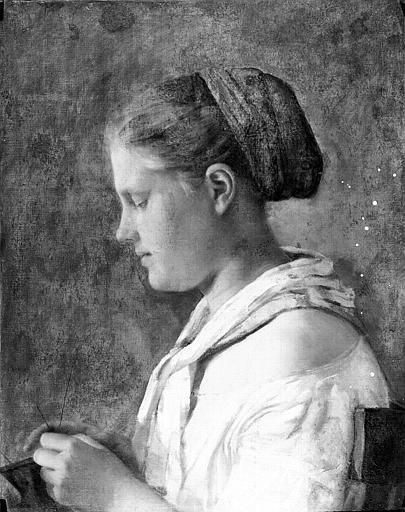Peinture sur toile : Jeune femme tricotant