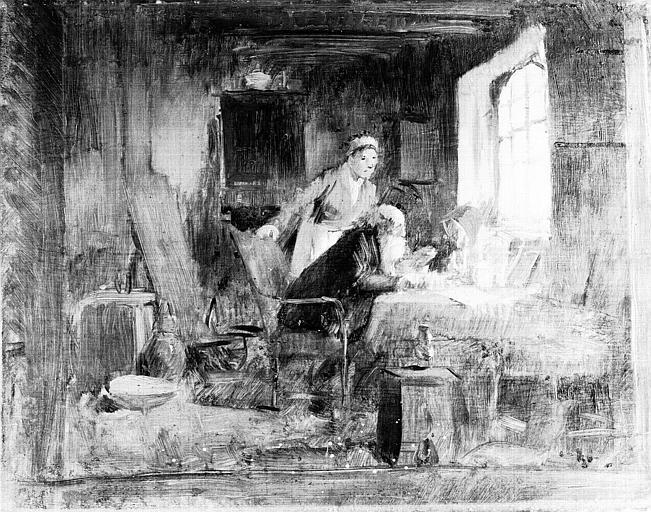 Peinture sur bois : Savant dans son cabinet de travail