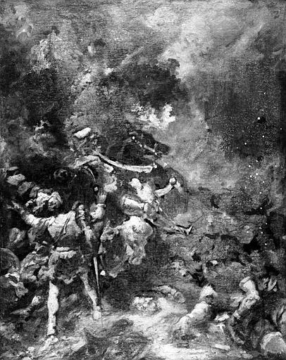 Peinture sur toile : Scène de bataille