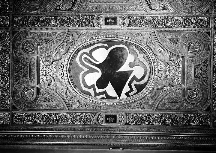 Salle Henri II, caisson ouest du plafond peint : Les Oiseaux