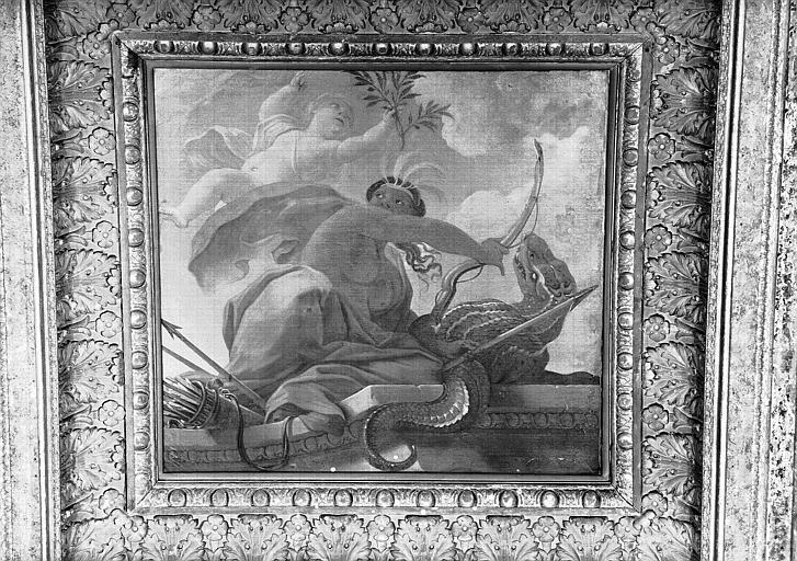 1e salle de la Colonnade, peinture du caisson nord-ouest du plafond : L'Amérique