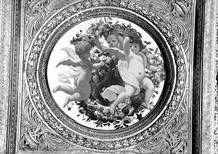 1e salle de la Colonnade, peinture du caisson central côté nord du plafond : Génies portant les armes de France