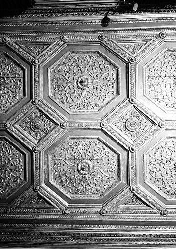 Salle Rotschild (département des objets d'Arts) : Détail du plafond à caissons