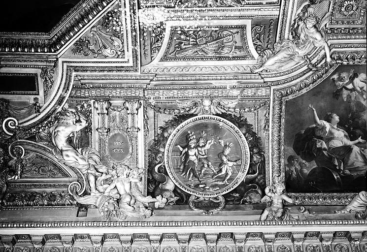 Galerie d'Apollon, stucs et grisaille côté est du plafond : Les Poissons, le mois de Février