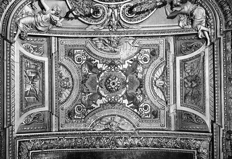 Galerie d'Apollon, stucs et grisaille du plafond (partie centrale) : Peintures décoratives