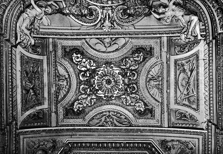Galerie d'Apollon, stucs et grisailles du plafond (partie centrale) : Peintures décoratives