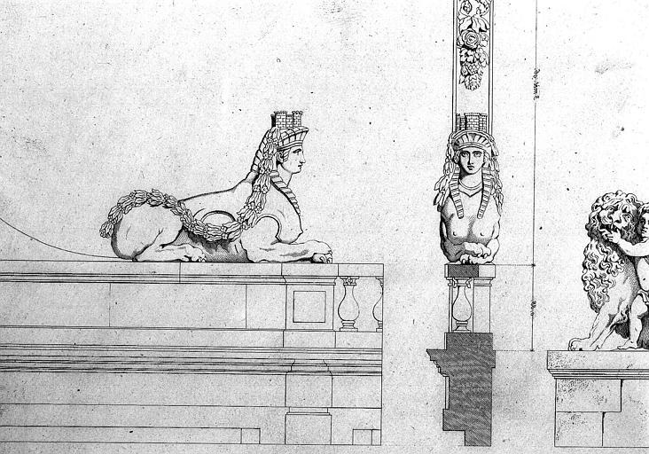 Dessin du contrefort sur la cour : Le Sphinx