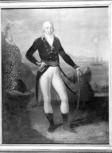 Peinture sur toile : Portrait de Jean-Jacques Magendie, contre-amiral à Trafalgar (peint à Naples)