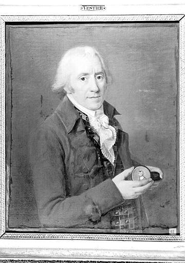 Peinture sur toile : Portrait d'homme âgé tenant un médaillon