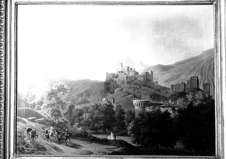 Peinture sur toile : La ville de Sion en Suisse dans le Valais