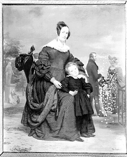 Peinture sur toile : Portrait d'une femme et de son fils au jardin des Tuileries (?)