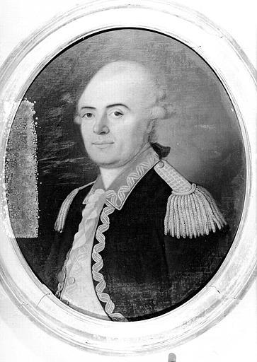 Peinture sur toile ovale : Portrait d'homme