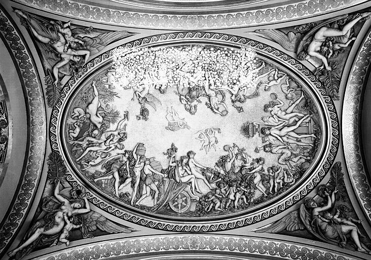 Grande Galerie : Bas-reliefs et stucs de la coupole ouest