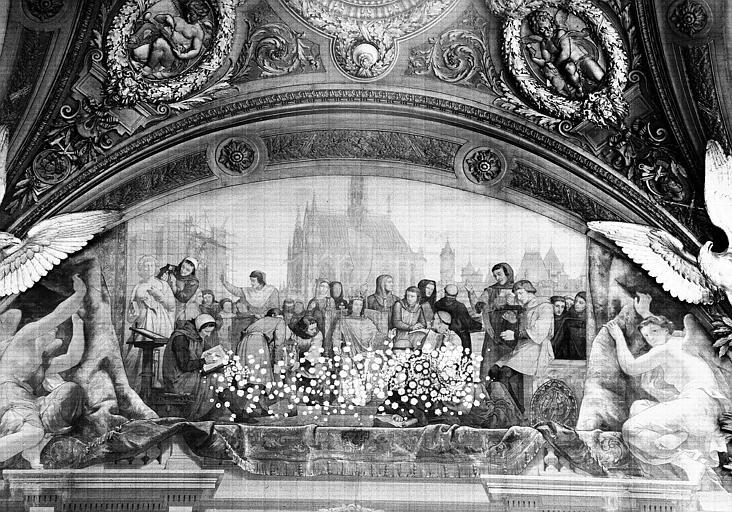 Salle Denon, peinture de la lunette côté est du plafond : Saint Louis et l'Art du Moyen-Age