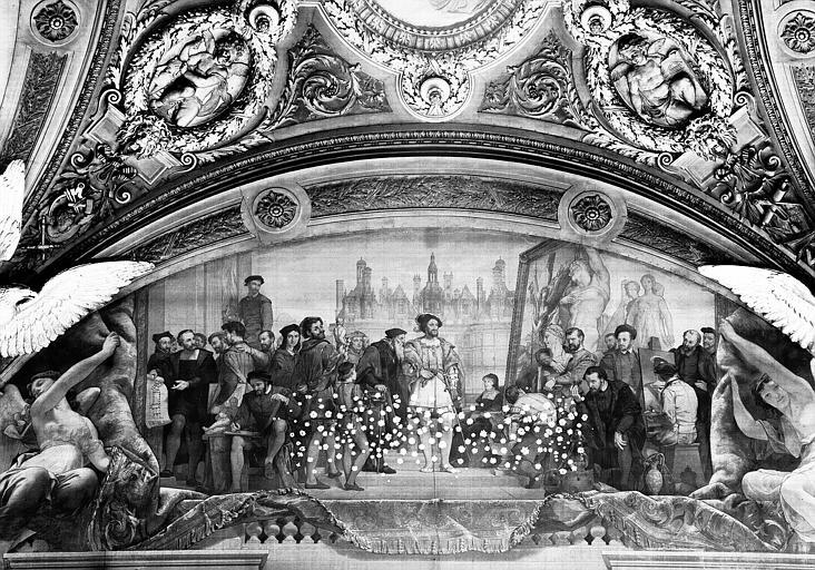 Salle Denon, peinture de la lunette côté nord du plafond : François 1er et l'Art de la Renaissance