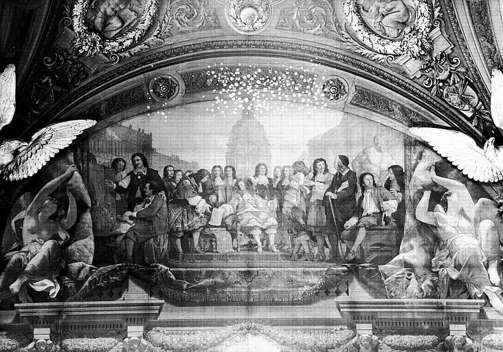 Salle Denon, peinture de la lunette côté ouest du plafond : Louis XIV et l'Art Classique