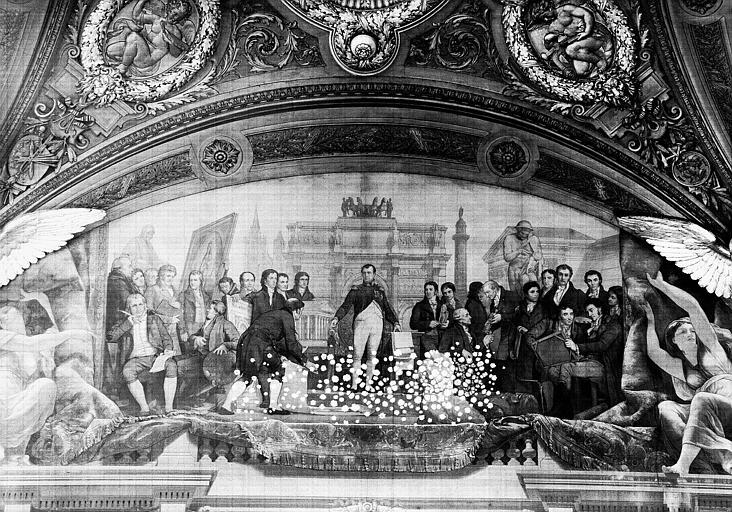 Salle Denon, peinture de la lunette côté sud du plafond : Napoléon Ier et l'Art Moderne