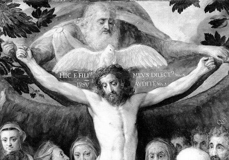 Panneau peint, détail central : La Trinité