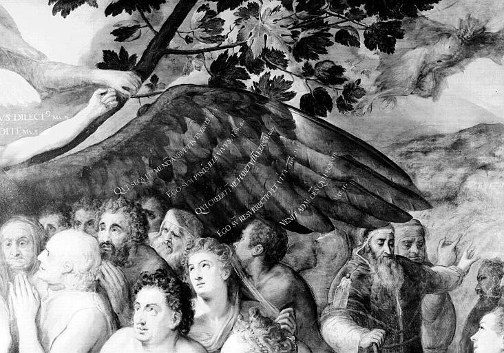 Panneau peint, détail de la partie supérieure droite : Un rameau de vigne, le Démon