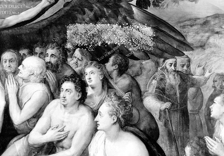 Panneau peint, détail de la partie médiane droite : Les fidèles à gauche du Christ