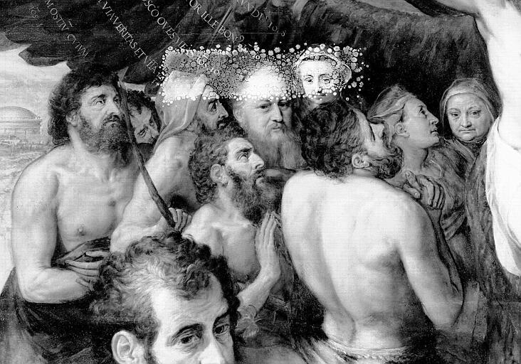 Panneau peint, détail de la partie médiane gauche : Les fidèles à droite du Christ