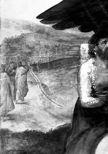 Panneau peint, détail  à l'extrême gauche : Le Christ prophétisant devant Jérusalem